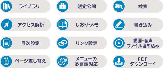 ライブライリ 限定公開 検索 アクセス解析 しおり・メモ 書き込み 目次設定 リンク設定 動画・音声ファイル埋め込み ページ差し替え メニューの多言語対応 PDFダウンロード